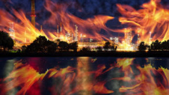 Fire at oil refining plant - abstract view.